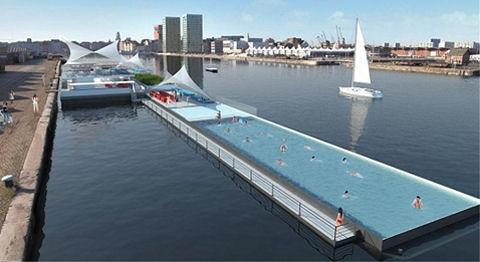 Drijvend zwembad Antwerpen gezonken