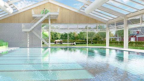 Overdekt- en openlucht zwembad binnen één constructie
