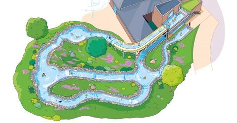 Bouw spectaculaire wildwaterbaan gaat starten